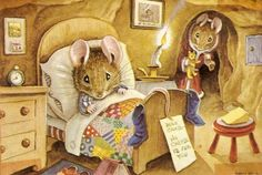 """Mice Christmas Illustrations by Racey Helps; """"Dear Santa ~ the cheese is for you.''"""