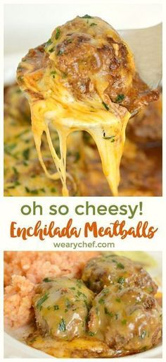 Cheesy Enchilada Meatballs Cheesy Meatballs, Ground Beef Meatballs, Meatballs And Rice, Recipes With Meatballs, Trader Joes Turkey Meatballs, Sauce For Meatballs Easy, Keto Meatballs, Meatless Meatballs, Stuffed Meatballs