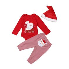 be3c9c8892e My First Christmas Baby Bodysuit Boy Girl Warm Romper Pants Santa Hat  Clothes