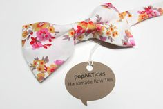Pink and Yellow Floral Bow Tie - White Floral Bow Tie - Handmade with 100% Cotton - Men's Pre-Tied Bow Tie  - 10% off with promo code PIN10 - #popARTicles #pinkyellowwedding #pinkfloralbowtie