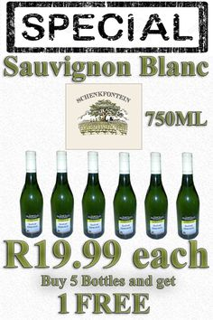 """Buy 5 bottles of  Blanc for only each and get 1  at """"Skaapland Tyger Valley Butchery"""" Sauvignon Blanc, Bottles, Drinks, Stuff To Buy, Free, Drinking, Beverages, Drink, Beverage"""