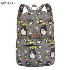 Lovely Totoro Printing Canvas Backpack Korean Styles of School Bags Free Shipping -B ** Ver el elemento en detalles haciendo clic en la VISITA botón