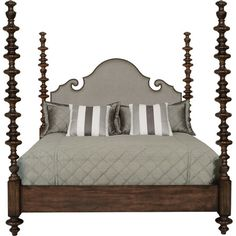An elegant capstone for a traditional master suite, this upholstered bed features a Baroque-inspired headboard, antique brass-hued nailhead trim, and turned ...