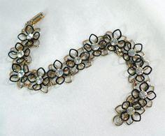 Vintage Rhinestone Bracelet - 3-Dimensional Flowers, Summer Fun