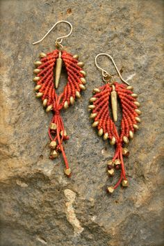 hand woven by micro macrame technique using highest quality italian waxed cord. solid brass beads . hooks are gold filled .