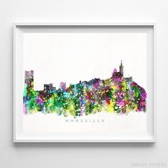 Marseille France Skyline Watercolor Wall Art Print. Prices from $9.95. Available at InkistPrints.com - #skyline#watercolor#cityscape#walldecor#livingroomdecor#Marseille #France