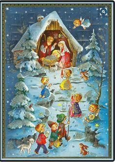 Vintage Nativity Advent Calendar Printed in Germany German Christmas, Christmas Past, Christmas Countdown, Christmas Crafts, Xmas, Christmas Tables, Vintage Christmas Cards, Retro Christmas, Vintage Cards
