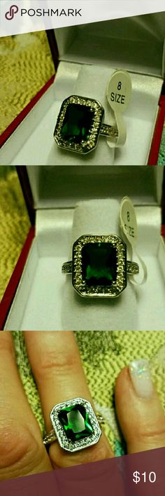 Ring square cut Emerald and White zircon stones Ring square cut Emerald and White zircon stones  sterling silver plated/ no stamp. Lovely ring with elegance that only a emerald can display.  Last one! Jewelry Rings
