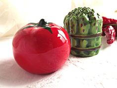 Ceramic Vegetable Salt and Pepper Shakers, Tomato and Asparagus Salt and Pepper…