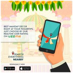 Planning the entire Wedding is necessary. When it comes to the decoration of Mandap, it's difficult to choose the best one among. With UzzMe find your nearest. Install now. Search Everything, Better One, Finding Yourself, Things To Come, App, How To Plan, Decoration, Wedding, Decorating
