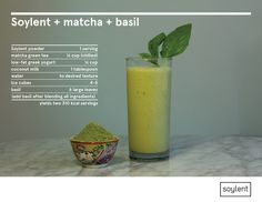 Directions:  Combine green tea, yogurt, coconut milk, Soylent and ice cubes in a blender and blend until ice is crushed. Add basil leaves and mix for another minute.