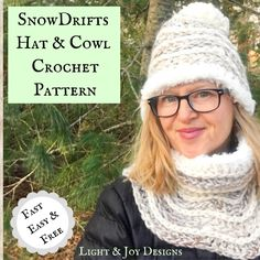 Learn to Crochet the Snowdrifts Hat and Cowl Set – Free Crochet Pattern & Tutorial – Light and Joy Designs Quick Crochet, Learn To Crochet, Free Crochet, Knitted Hats, Crochet Hats, Crochet Scarves, Interchangeable Knitting Needles, Yarn Bee, Lion Brand Wool Ease