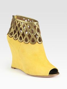 Elie Tahari - Giada Suede and Metallic Leather Wedge Ankle Boots from Saks at 150 WORTH.