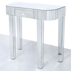 Classic Mirror 1 Drawer Mirrored Console Table with mirror tile detailing across the unusual rounded shape of the table