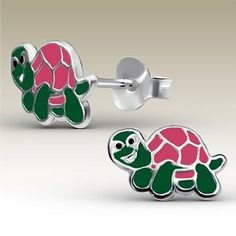 CUTE Pink TURTLE Sterling Silver Childrens Earrings Post/stud JC Childrens Silver Collection. $16.99. Children Ear Studs. Sterling silver with epoxy color. E-coat. 1.0x0.8cm. 0.9 G