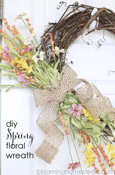 Beautiful and simple diy spring wreath with full tutorial.