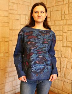 """Купить Свитшот валяный женский """"Бабочки в ночи"""" - рисунок, свитер с бабочками, свитшот с бабочками"""