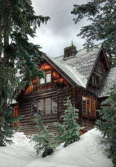 Christmas in a beautiful log cabin.