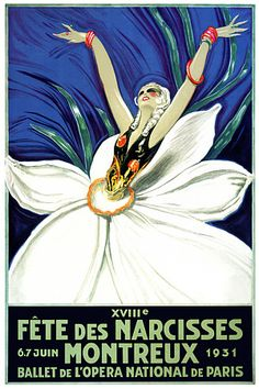 "Jean-Gabriel DOMERGUE – Vintage poster – Gorgeous poster for the famous ""Daffodils Festival in Montreux on the Geneva lake. This extremely rare Art Deco poster is attributed to Jean-Gabriel Domergue. Vintage Advertising Posters, Vintage Travel Posters, Vintage Advertisements, Art Deco Illustration, Art Deco Posters, Poster Prints, Art Prints, Art Vintage, Vintage Ads"