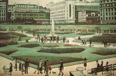 Art Print: Piccadilly Gardens Art Print by Laurence Stephen Lowry by Laurence Stephen Lowry : Salford, Manchester Art, Manchester England, Manchester United, Manchester Piccadilly, Spencer, English Artists, Art Uk, Colors