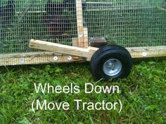 Instructions for making chicken tractor wheels that retract using an interesting kind of paddle...