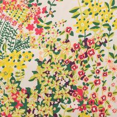 Tissu gabardine fleur jaune / vert - matiere Gabardine motif Fleur