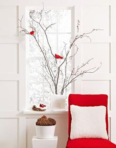 DIY Christmas window decor - Midwest Living.    Love the birds on branch with snow in container-kat