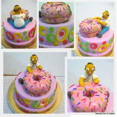 Doughnut cake with Homer Simpson I just made this cake for a big fan of  Homer Simpson. While I was very pleased with how the stacked donuts turned out I w