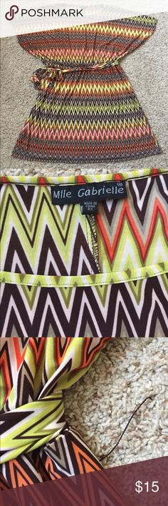 """Mlle Gabrielle chevron dress - 3X Beautiful chevron dress with dolman sleeves from Mlle Gabrielle. Six 3X, see measurements below. 96% polyester, 4% spandex. Gently worn with a few minor flaws - one of the belt loops is broken and some of the thread in the bottom hem is loose. Please see pictures. No stains, holes, or other major flaws. Measurements taken flat across front. Waist: 21"""" (waist is elastic, measurements taken jnstretched); length: 37"""" Mlle Gabrielle Dresses"""