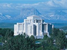 cardston alberta temple | Chief Mountain behind the Cardston, Alberta Temple.