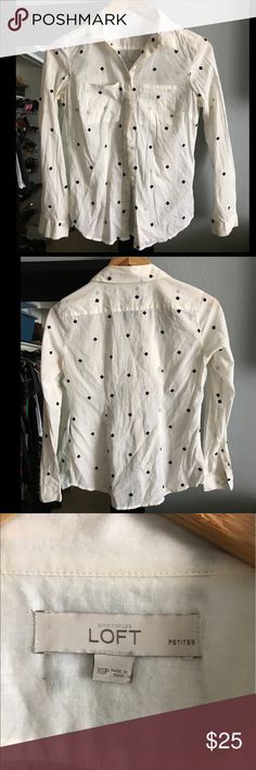 Buttoned Down Black Blouse w/embroidered Design Ann Taylor structured Button Down Blouse! In great condition. No flaws. Ann Taylor Tops Button Down Shirts
