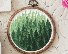 Cross Stitch Pattern Forest, Nordic Cross Stitch Patterns Modern Green Forest Cross Stitch Design Nature Embroidery Green Forest PDF
