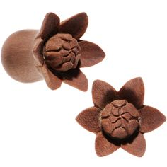 00 Gauge Organic Sabo Wood Bali Bloom Single Flare Plug Set | Body Candy Body Jewelry