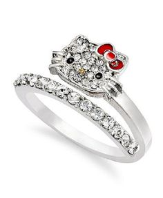 hello kitty sterling silver ring pave crystal face bypass ring rings jewelry watches macys - David Tutera Wedding Rings