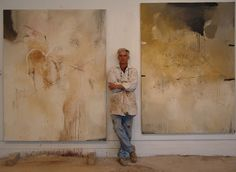 Ohio-based American artist Harry Ally (b.1949) with his work. Photographer unknown. via the artist's site
