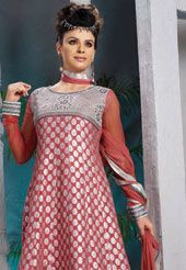 Onion pink viscose unstitched frock style kameez with matching onion pink tanchoi silk