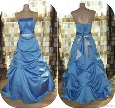 $89.99 Blue Satin Full Sweep Formal Ball Gown Cinderella Dress Costume HALLOWEEN XS/S