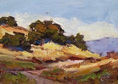HAWK, OAK TREES, PLEIN AIR PAINTING and WORKSHOP INFO by TOM BROWN, painting by artist Tom Brown