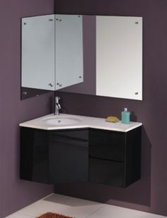 Corner vanity cabinet mirror double ikea sink unit home decor bathroom office marvellous best ideas only Bathroom Sink Storage, Corner Bathroom Vanity, Floating Bathroom Vanities, Wall Hung Vanity, Corner Sink, Floating Vanity, Laundry In Bathroom, Small Bathroom, Laundry Rooms