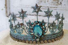 Brass rusty blue crown tiara embellished French Santos style aged statue embellishment home decor Anita Spero