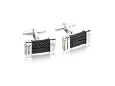 Celtic Noir cufflinks in 18K white gold and black steel cable.