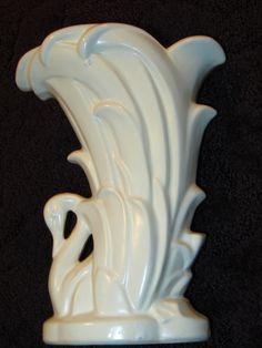 """Matte White Pottery- Vintage 1940's McCoy Swan Vase - 9"""" Tall   eBay"""