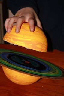 Time for yet another science project! This one's a model of Saturn, made from an old vinyl record ( Jesus Christ, Superstar , as it so h. Jupiter Planet, Uranus Planet, Science Projects For Kids, School Projects, Activities For Kids, Space Projects, Planets Activities, Planet Crafts, Planet Project