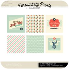 Freebie - Retro Holiday Cards from Persnickety Prints. Comes in PNG format for you to use in project Life, as gift tags and more! Project Life Scrapbook, Project Life Album, Project Life Cards, Holiday Gift Tags, Holiday Cards, Mini Albums, Project Life Free, Free Christmas Printables, Free Printables