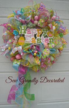 XL Deco Mesh Happy Easter Door or Wall by SewGrandlyDecorated, $159.57