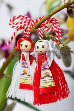 Picture of Martenitsa, traditional Bulgarian spring custom sign stock photo, images and stock photography. Yarn Crafts, Diy And Crafts, Christmas Crafts For Kids, Christmas Ornaments, Handkerchief Crafts, Crochet Socks Pattern, Magic Day, Yarn Dolls, Wedding Mugs