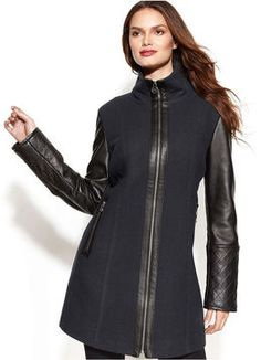 MICHAEL Michael Kors Coat, Wool-Blend Mixed-Media Colorblock on shopstyle.com