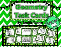 Simply print, cut, and use!These 40 cards are perfect for reviewing geometry skills such as identifying plane and solid figures.The cards can be used as an around the room scavenger hunt, desk scoot game, or simply as a stack of task cards in a math center for partner review. Center Ideas, Task Cards, St Patricks Day, Geometry, Plane, Fun Stuff, Classroom, Desk, Teaching