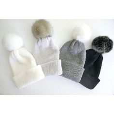 Bobble hat in white, silver gray, gray and black merino wool with faux... (1 040 UAH) ❤ liked on Polyvore featuring accessories, hats, white beanie hat, gray beanie, faux fur hat, grey beanie and bobble hats