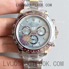 Rolex Daytona 116506 1:1 Noob Best Edition Brown Ceramic Bezel Ice Blue Dial on SS Bracelet A7750